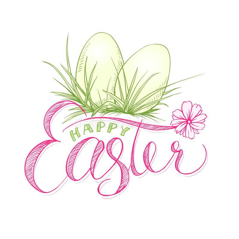 Szczęśliwa Easter karta z jajkami w trawie Religia wakacje royalty ilustracja