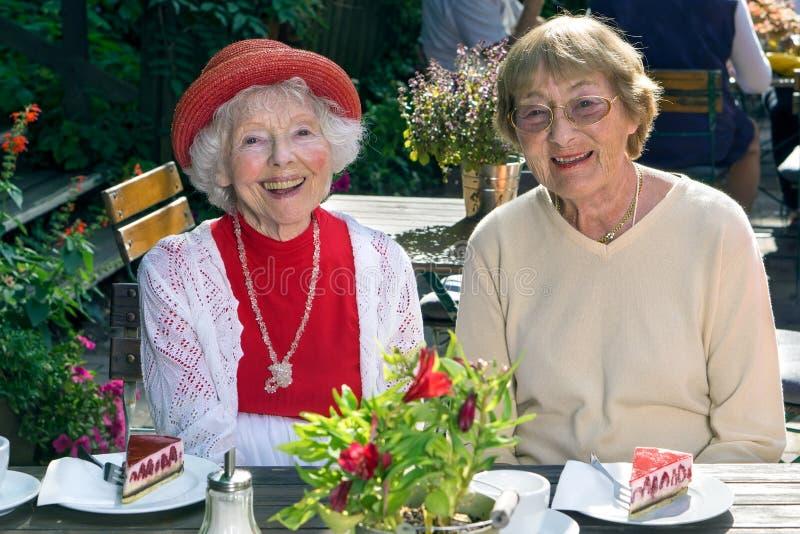 Szczęśliwa elegancka starsza dama relaksuje z przyjacielem zdjęcia royalty free