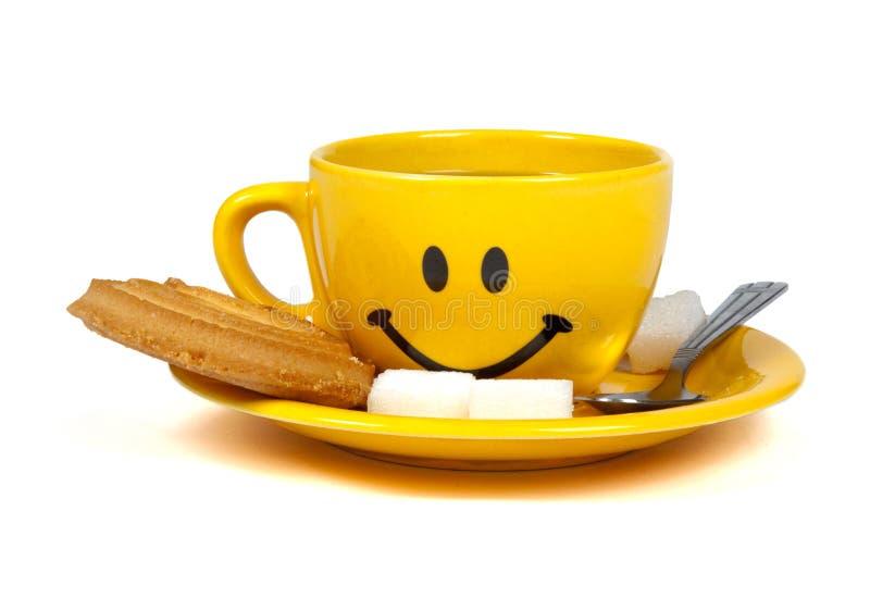 szczęśliwa filiżanki herbata obrazy stock