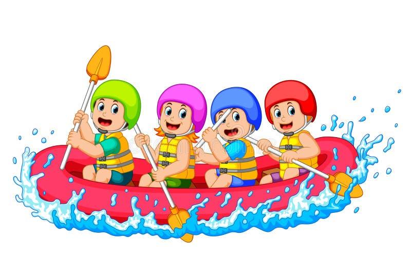 Szczęśliwa flisactwo drużyna w rzece ilustracja wektor