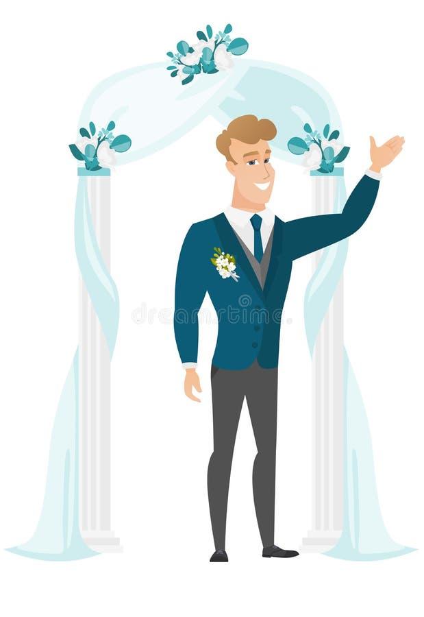 Szczęśliwa fornal pozycja pod ślubnym łukiem ilustracja wektor