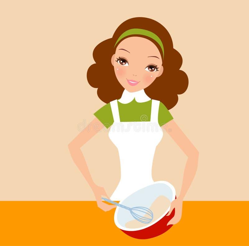 Szczęśliwa gospodyni domowa trzyma śmignięcie i puchar ilustracja wektor