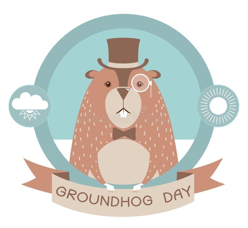 Szczęśliwa groundhog dnia etykietka odizolowywająca na bielu ilustracja wektor