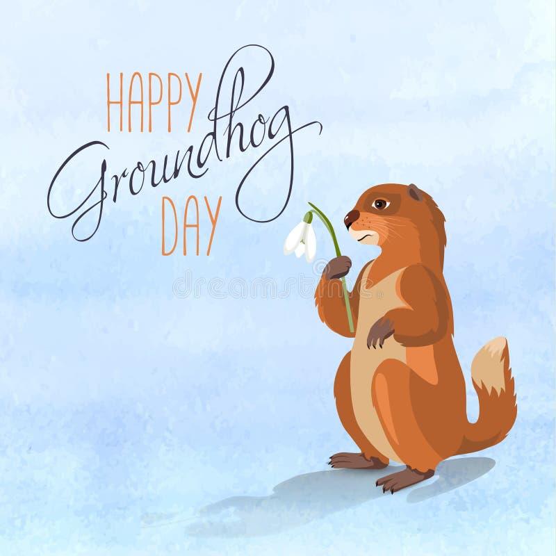 Szczęśliwa Groundhog karta royalty ilustracja