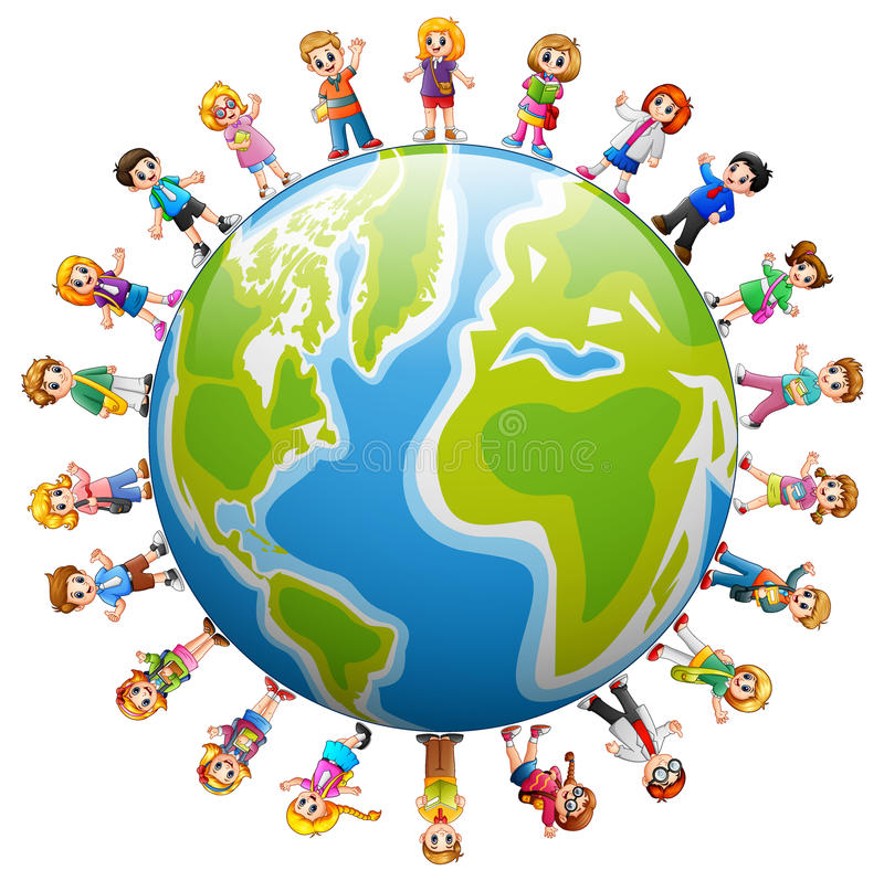 Szczęśliwa grupa dzieci stoi dookoła świata ilustracji