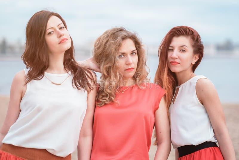 Szczęśliwa grupa kobiety ma zabawę outdoors obraz royalty free