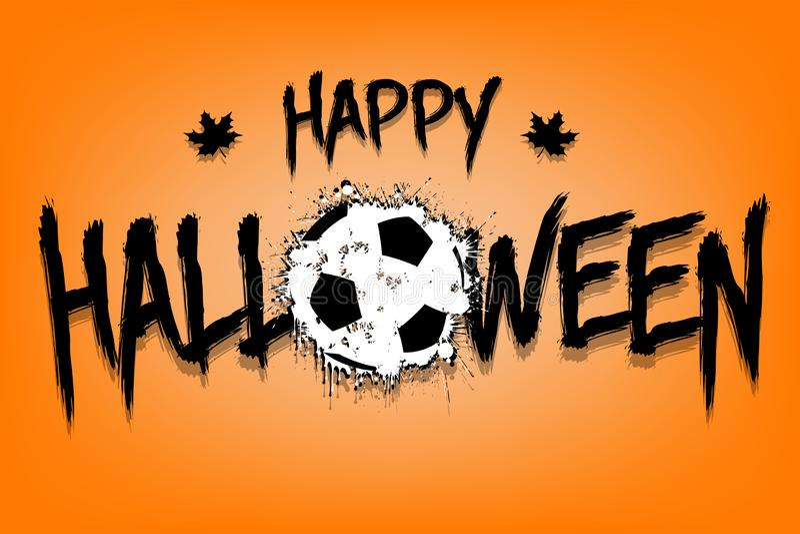 Szczęśliwa Halloween i piłki nożnej piłka kleksy ilustracja wektor