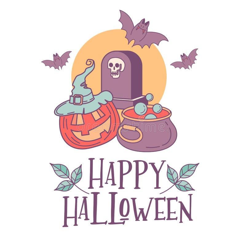 szczęśliwa Halloween ilustracja Ręka rysujący kartka z pozdrowieniami, i ilustracji