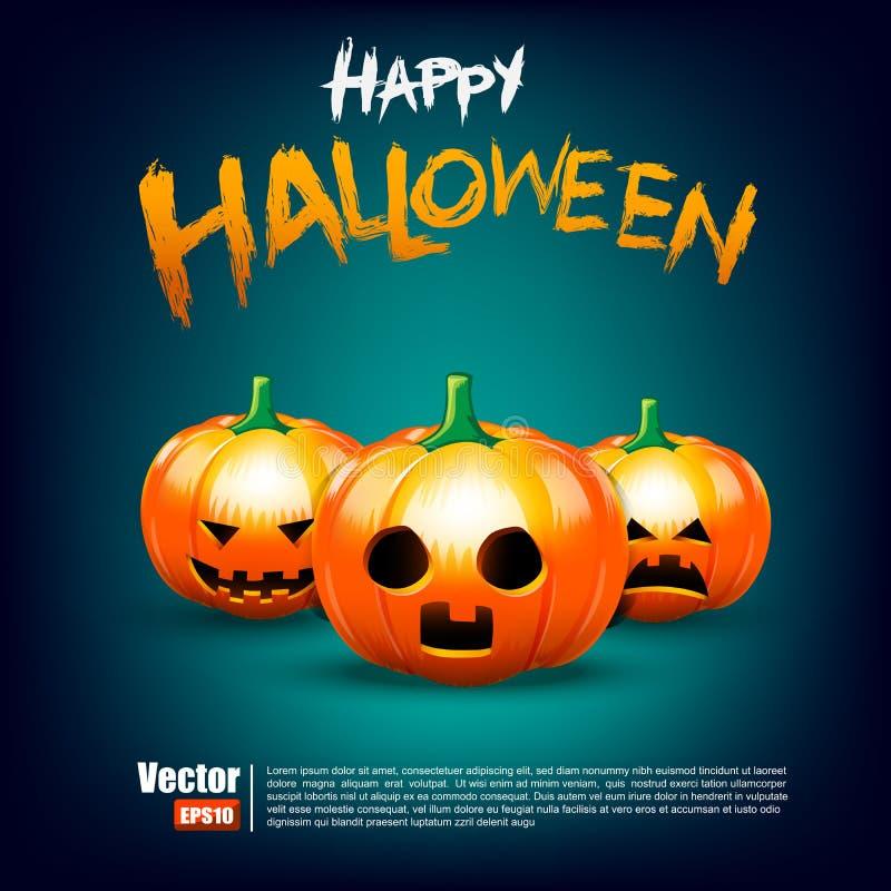 Szczęśliwa Halloween kaligrafia, bania na ciemnym tło wektorze i ilustracji