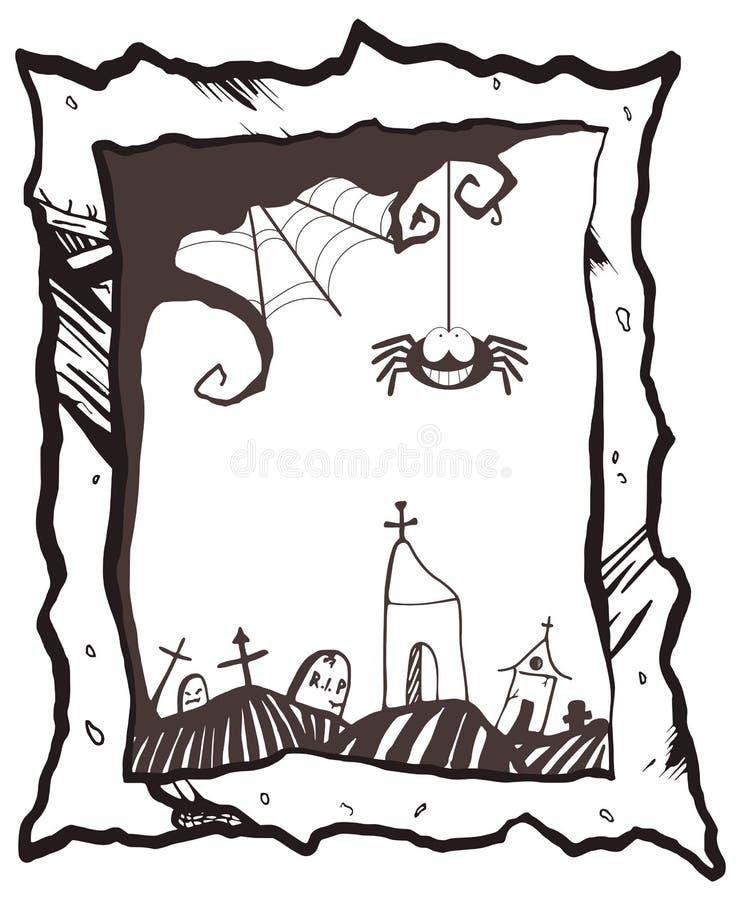 Szczęśliwa Halloween rama z uśmiechniętym pająkiem, siecią, nagrobkami i kościół, royalty ilustracja
