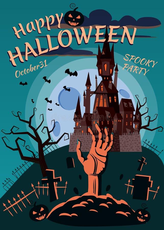 Szczęśliwa Halloweenowa bania w cmentarzu, zaniechany czerń kasztel, ręka rozciąga od grób, księżyc w pełni zmrok ilustracja wektor