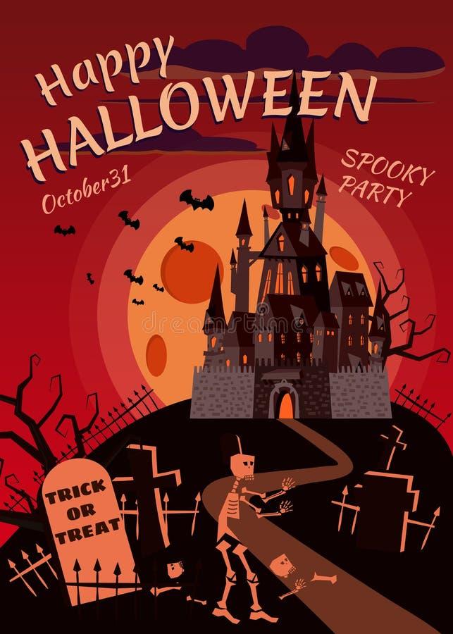 Szczęśliwa Halloweenowa bania w cmentarzu, zaniechanym czerń kasztelu, księżyc w pełni ciemnej nocy, krzyżach i nagrobkach, ilustracji