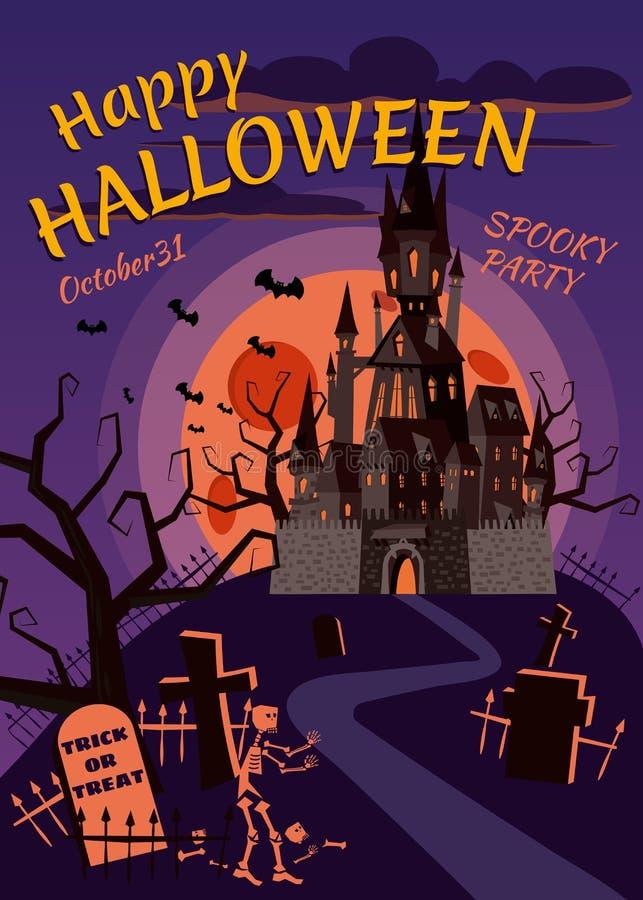 Szczęśliwa Halloweenowa bania w cmentarzu, zaniechanym czerń kasztelu, księżyc w pełni ciemnej nocy, krzyżach i nagrobkach, royalty ilustracja