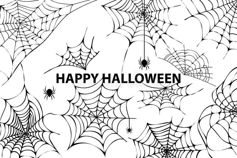 Szczęśliwa Halloweenowa pajęczyna pająków wektoru ilustracja royalty ilustracja