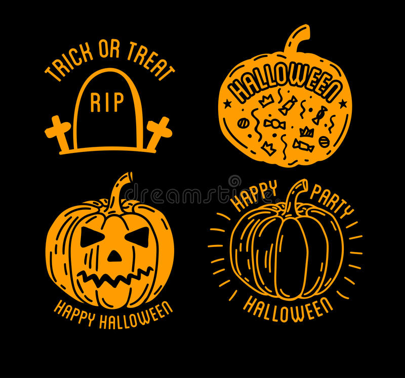 Szczęśliwa Halloweenowa projekt kolekcja Czarne etykietki i odznaki ustawiają z tekstem inside royalty ilustracja
