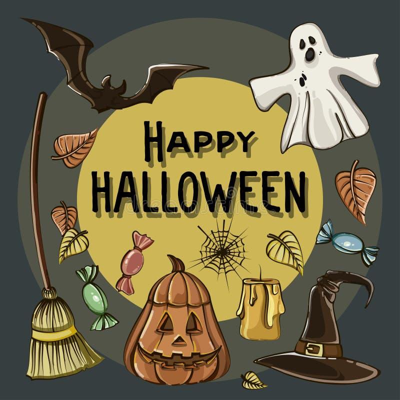 Szczęśliwa Halloweenowa ręka rysować ilustracje ilustracja wektor