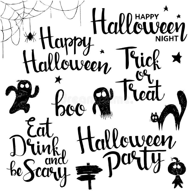 Szczęśliwa Halloweenowa ręka rysujący literowanie set royalty ilustracja