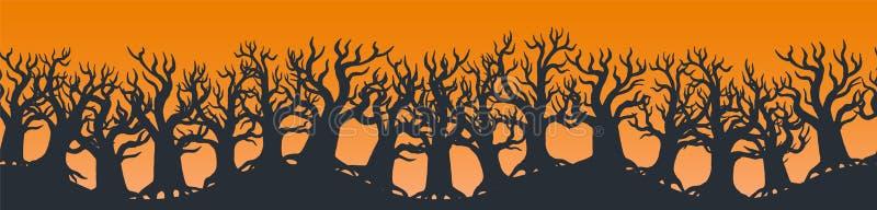 Szczęśliwa Halloweenowa stopka lub sztandaru projekt dekorowaliśmy z strasznymi drzewami na pomarańcze ilustracja wektor