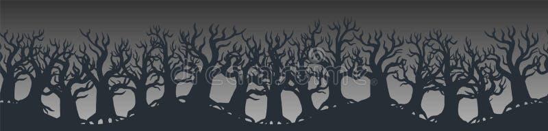 Szczęśliwa Halloweenowa stopka lub sztandaru projekt dekorowaliśmy z strasznymi drzewami na pomarańcze ilustracji