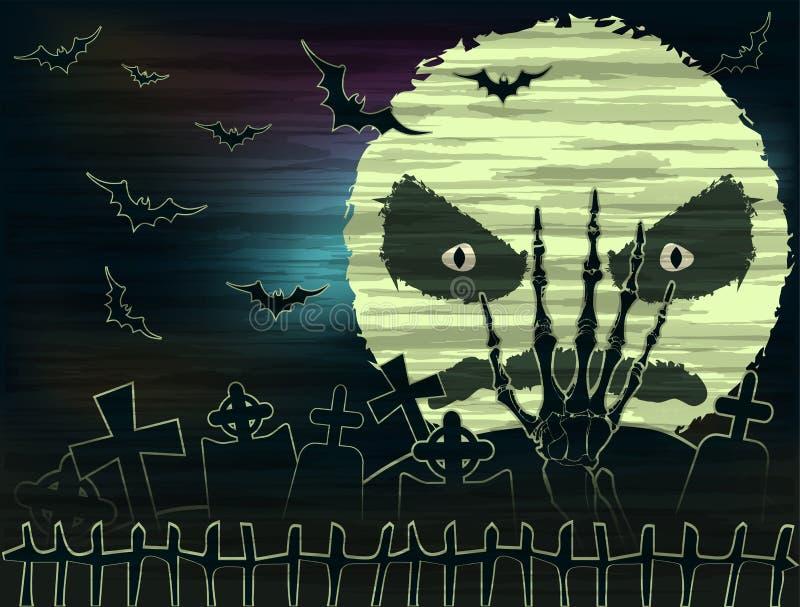 Szczęśliwa Halloweenowa tapeta z księżyc i żywego trupu ręką ilustracja wektor