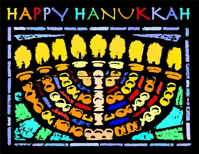 Szczęśliwa Hanukkah karta z Hannukia ilustracji