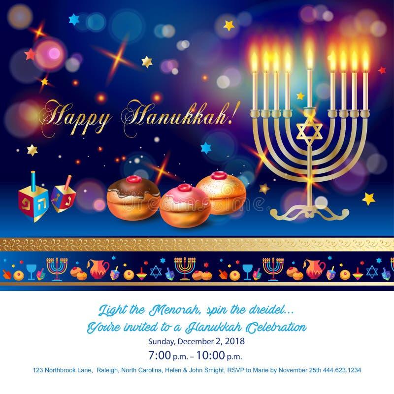 Szczęśliwa Hanukkah kartka z pozdrowieniami, menorah, chanuka, dreidel, hanuka tło royalty ilustracja