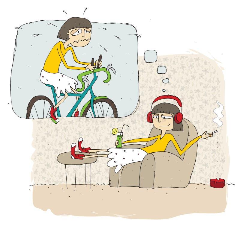 Szczęśliwa i gnuśna nastoletniej dziewczyny kreskówka z myśl bąblem ilustracji