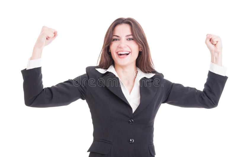 Szczęśliwa i pomyślna biznesowa kobieta przedsiębiorca lub pieniężny m, zdjęcia royalty free