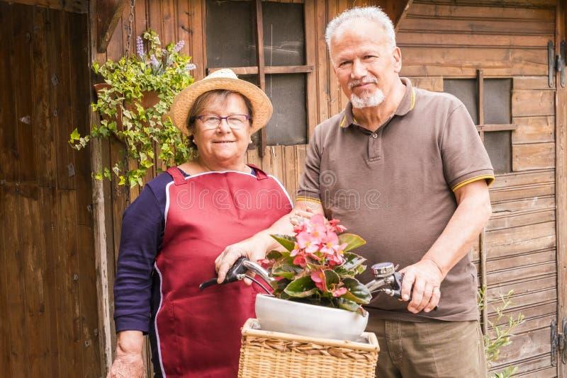 Szczęśliwa i rozochocona starsza para enojy przy ogródem plenerowa czas wolny aktywność w domu drewniany stary i obraz royalty free