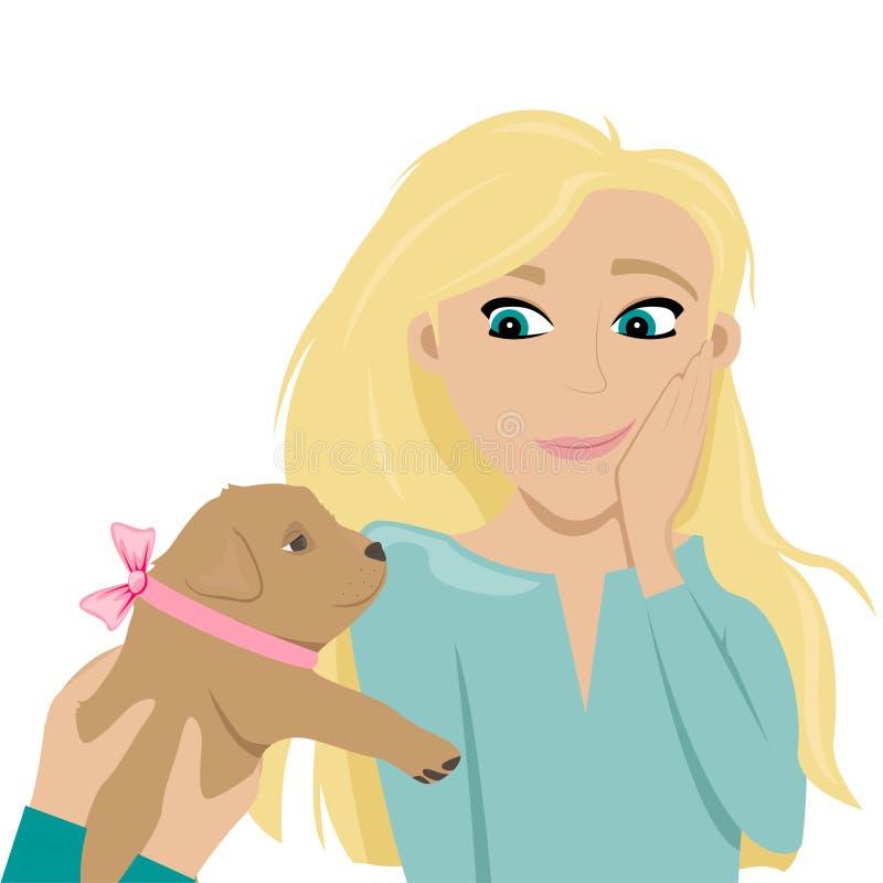 Szczęśliwa i zmieszana dziewczyna zachwycająca dla szczeniaka Szczeniak z łękiem jako prezent ilustracja wektor