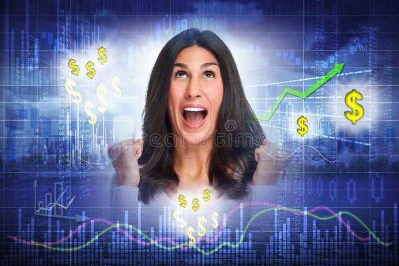 Szczęśliwa inwestor kobieta fotografia stock