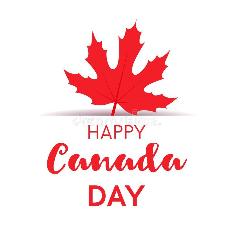 Szczęśliwa Kanada dnia karta lub sztandar z czerwonym cukrowym liściem klonowym royalty ilustracja