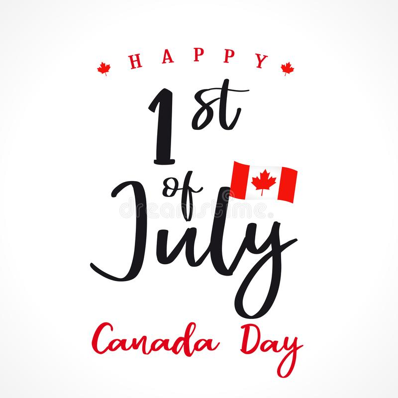 Szczęśliwa Kanada dnia literowania powitań karta ilustracji