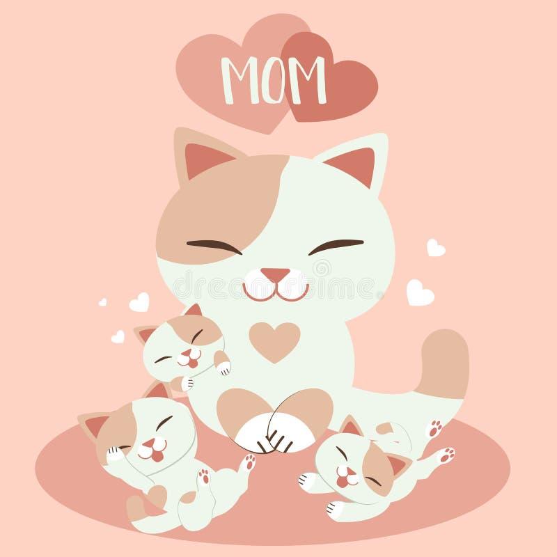 Szczęśliwa karta dnia matki Słodkie karty na Dzień Matki Grupa Cute Kitten i Matka Kota kot kot z kotem royalty ilustracja