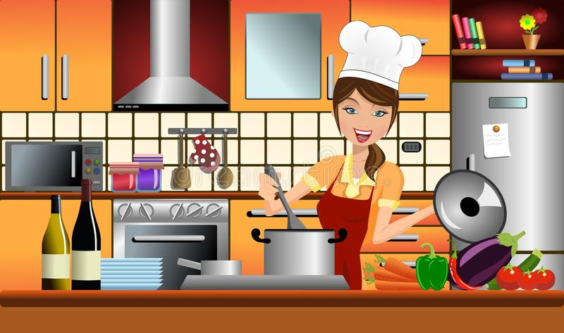 Szczęśliwa kobieta Cook w Nowożytnej kuchni ilustracja wektor