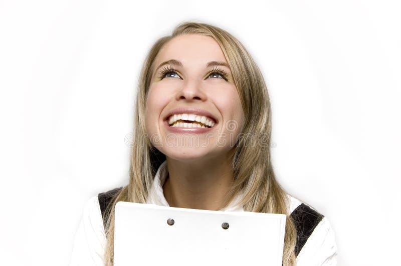 szczęśliwa kobieta jednostek gospodarczych zdjęcie royalty free