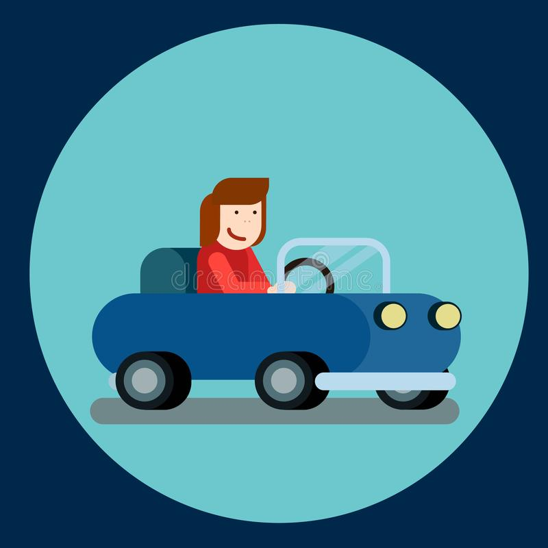 Szczęśliwa kobieta jedzie samochód Wektorowa ilustracja rozochocony żeński kierowca ilustracji