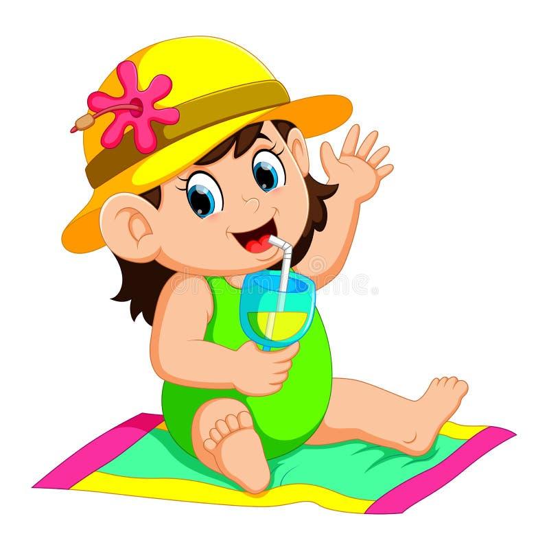 Szczęśliwa kobieta jest ubranym bikini i okulary przeciwsłonecznych trzyma koktajl ilustracji