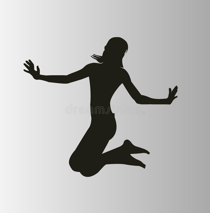 szczęśliwa kobieta jumping ilustracji