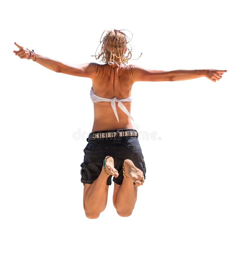 szczęśliwa kobieta jumping fotografia royalty free