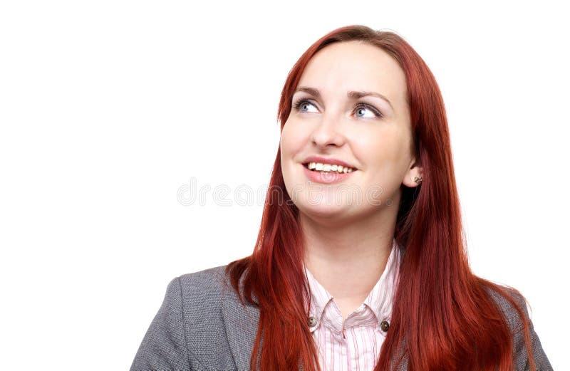 Szczęśliwa kobieta, przyglądający up zdjęcie royalty free