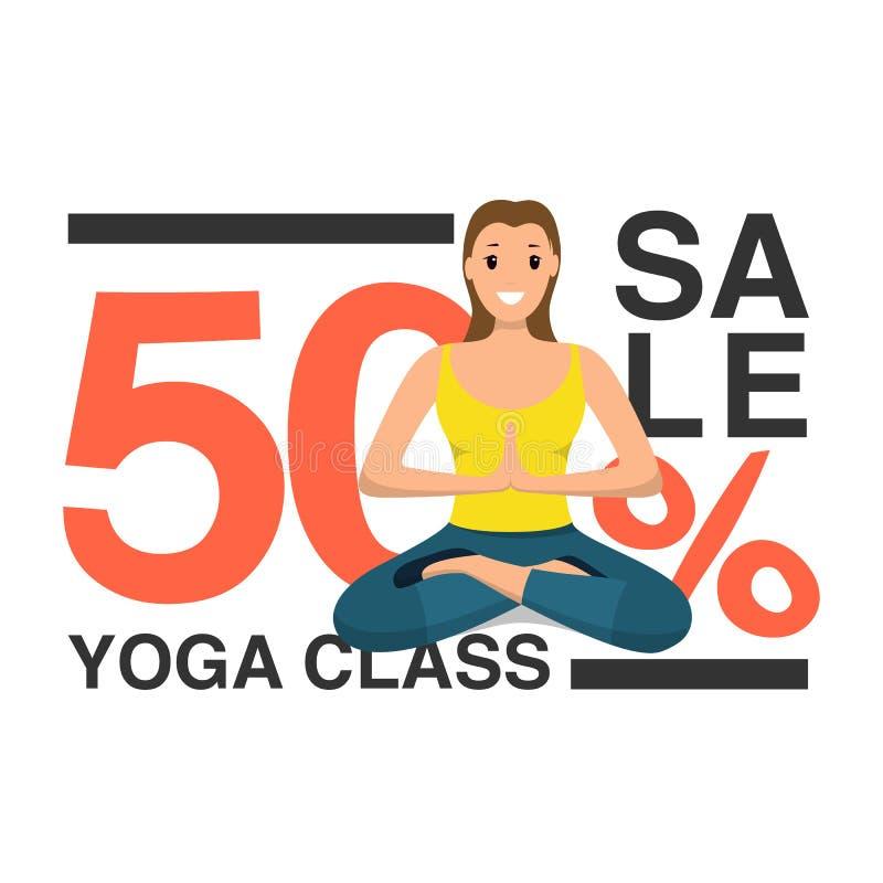 Szczęśliwa kobieta Robi joga sporta programowi szkoleniowemu royalty ilustracja