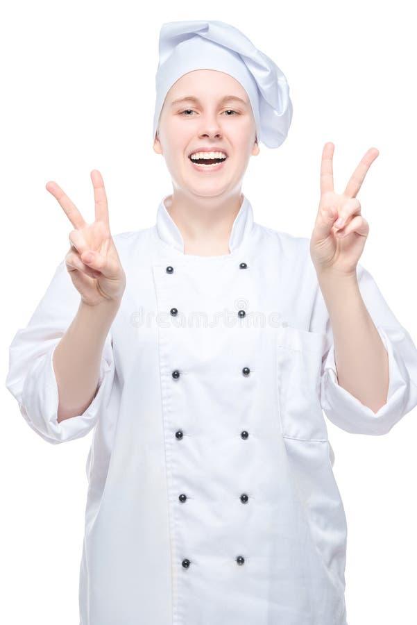 szczęśliwa kobieta szefa kuchni strzelanina na białym tle zdjęcia royalty free