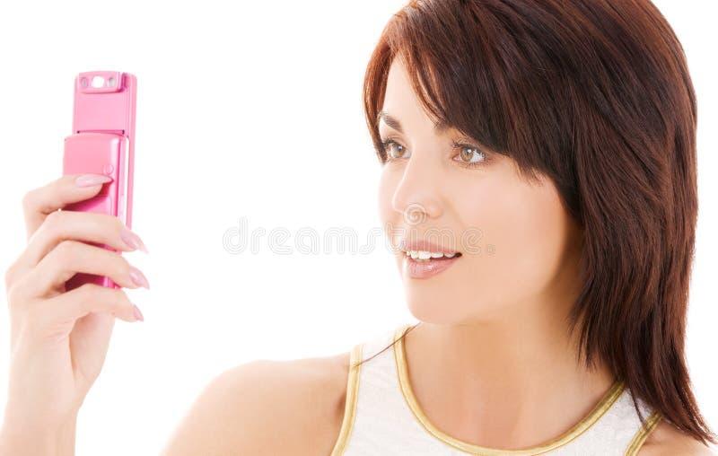 szczęśliwa kobieta telefonu komórki obraz stock