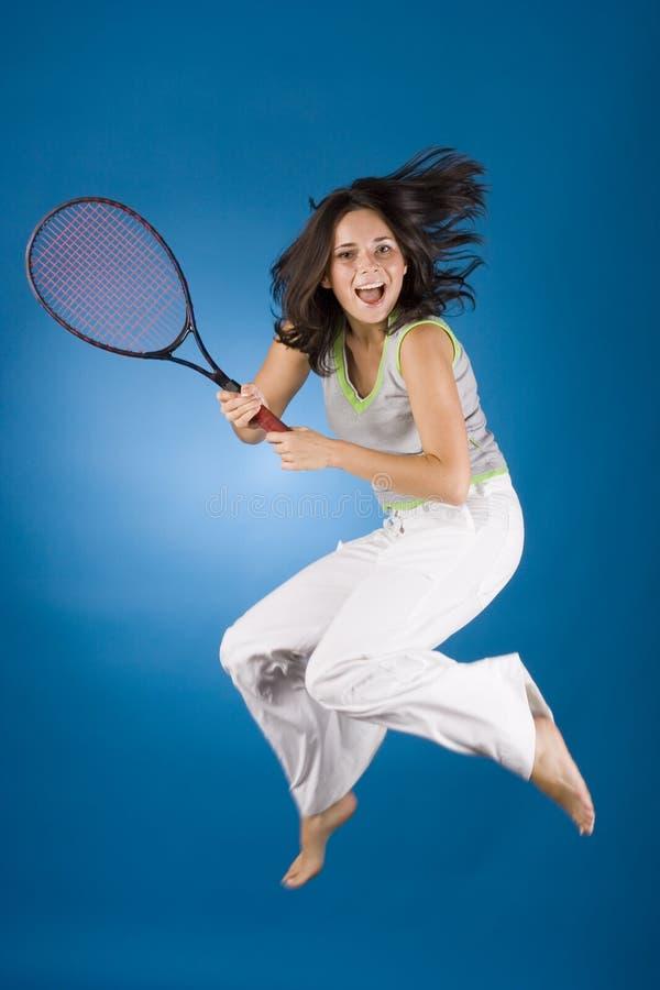 szczęśliwa kobieta tenisa kanta obraz stock