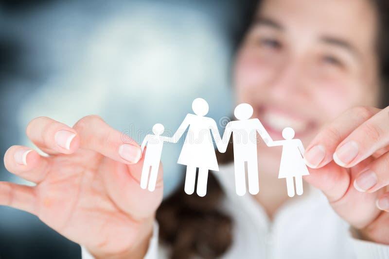 Szczęśliwa kobieta wyraża pojęcie rodzina obraz royalty free