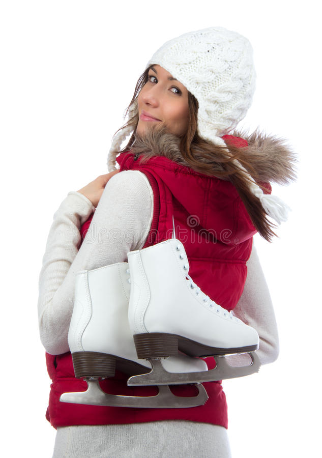 Szczęśliwa kobieta z lodowymi łyżwami dla zimy jazda na łyżwach sporta zdjęcie stock