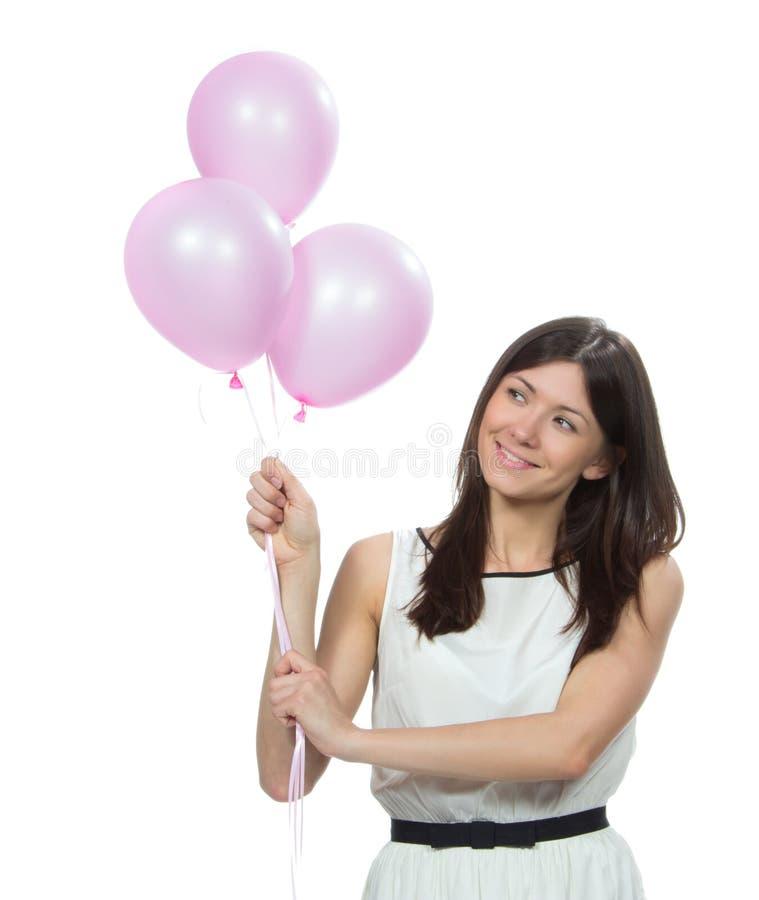 Szczęśliwa kobieta z menchiami szybko się zwiększać jako teraźniejszość fotografia stock