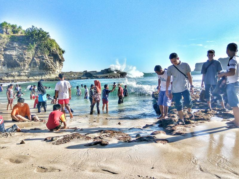 Szczęśliwa Krakal plaża fotografia stock