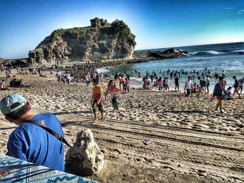 Szczęśliwa Krakal plaża obraz royalty free
